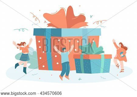 Tiny People Jumping For Joy Near Giant Gift Boxes. Flat Vector Illustration. Happy Employees Getting