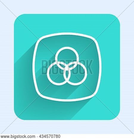 White Line Rgb And Cmyk Color Mixing Icon Isolated With Long Shadow Background. Green Square Button.
