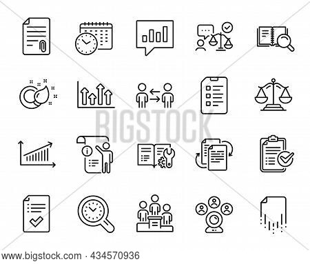 Vector Set Of Teamwork Business, Checklist And Justice Scales Line Icons Set. Recovery File, Enginee