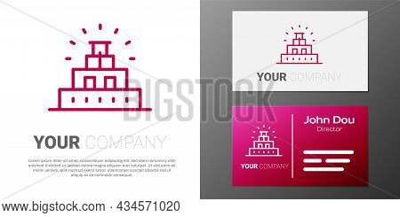 Logotype Line Chichen Itza In Mayan Icon Isolated On White Background. Ancient Mayan Pyramid. Famous