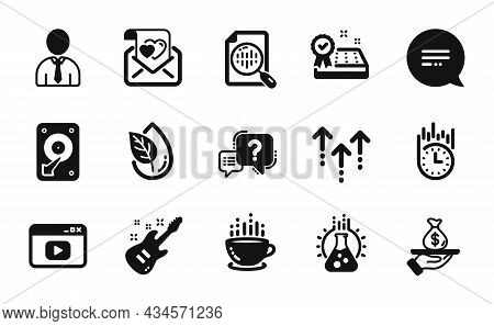 Vector Set Of Human, Electric Guitar And Video Content Icons Simple Set. Swipe Up, Hdd And Chemistry