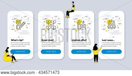 Vector Set Of Education Icons Related To Checkbox, Electricity Factory And Video Conference Icons. U