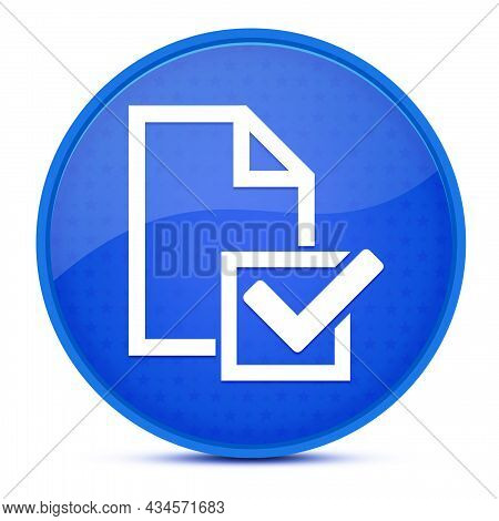 Survey(checklist Icon) Aesthetic Glossy Blue Round Button Abstract Illustration