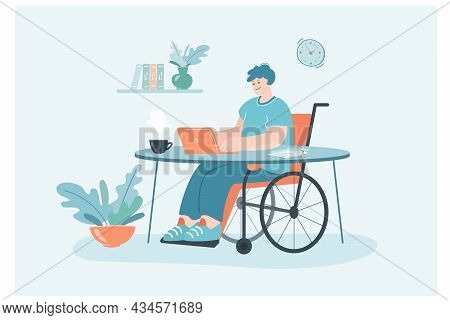 Male Invalid In Wheelchair Working From Home. Disabled Man Using Computer For Remote Work, Cozy Work