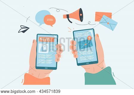 Hands Holding Phones With News On Screens. Application For Online Media Viewing On Smartphone, Readi