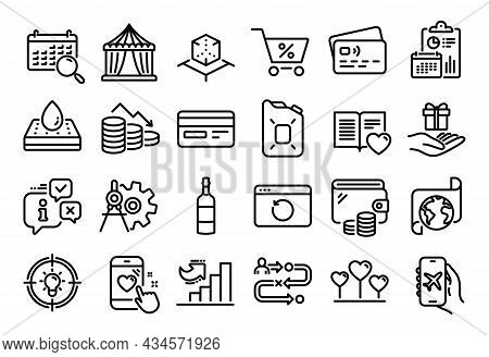 Vector Set Of Translation Service, Loyalty Program And Cogwheel Dividers Line Icons Set. Calendar Re