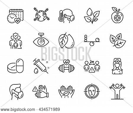 Vector Set Of Medical Drugs, Balance And Medical Syringe Line Icons Set. Plants Watering, Organic Te