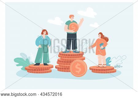 Gender Wage Discrimination Flat Vector Illustration. Male And Female Employees Standing On Stacks Of