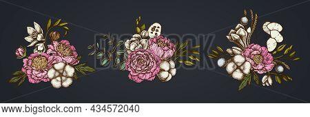 Flower Bouquet Of Colored Ficus, Eucalyptus, Peony, Cotton, Freesia Brunia Stock Illustration