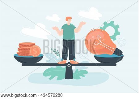Man Scaling Money And Light Bulb Flat Vector Illustration. Comparison Of Finance And Innovative Idea