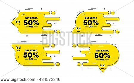 Get Extra 50 Percent Off Sale. Cartoon Face Transition Chat Bubble. Discount Offer Price Sign. Speci