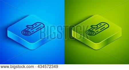 Isometric Line Wooden Logs Icon Isolated On Blue And Green Background. Stack Of Firewood. Square But