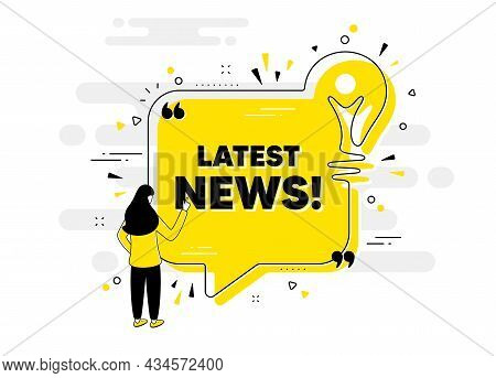 Latest News Text. Idea Chat Bubble Banner With Person. Media Newspaper Sign. Daily Information Symbo