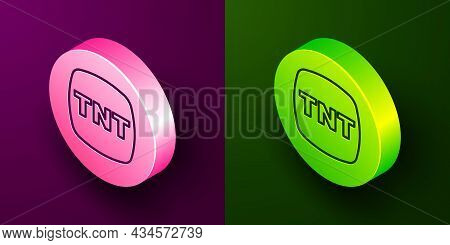 Isometric Line Detonate Dynamite Bomb Stick Icon Isolated On Purple And Green Background. Time Bomb