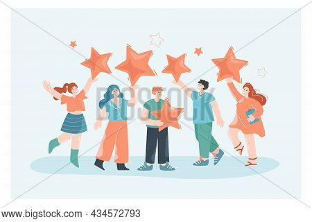 Team Receiving Positive Feedback From Customers. Flat Vector Illustration. Employees Holding Giant S