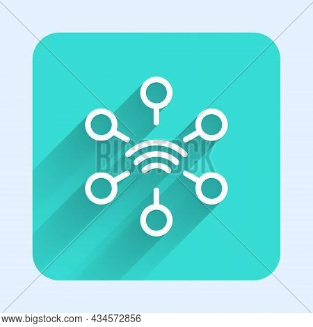 White Line Network Icon Isolated With Long Shadow Background. Global Network Connection. Global Tech