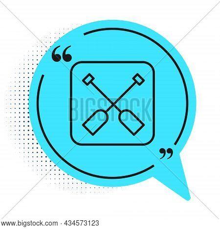 Black Line Paddle Icon Isolated On White Background. Paddle Boat Oars. Blue Speech Bubble Symbol. Ve