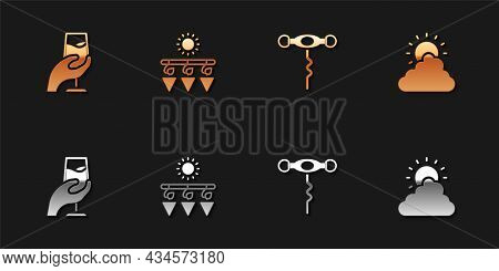 Set Wine Tasting, Degustation, Drying Grapes, Corkscrew And Sun And Cloud Weather Icon. Vector
