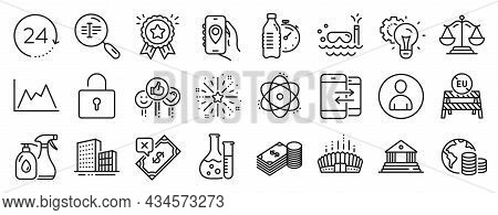 Set Of Business Icons, Such As Scuba Diving, Chemistry Lab, Rejected Payment Icons. Search Text, Loc