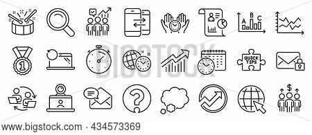 Set Of Education Icons, Such As Search, Question Mark, Recovery Laptop Icons. Time Management, Busin