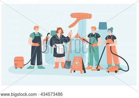 Team Of Tiny Cartoon In Uniform With Vacuum Cleaners. Cleaning Staff With Equipment Flat Vector Illu