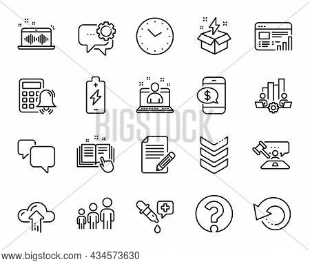 Vector Set Of Phone Payment, Teamwork Chart And Speech Bubble Line Icons Set. Music Making, Calculat