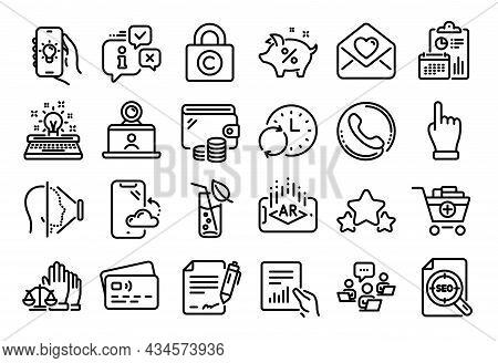 Vector Set Of Update Time, Typewriter And Call Center Line Icons Set. Calendar Report, Money Wallet
