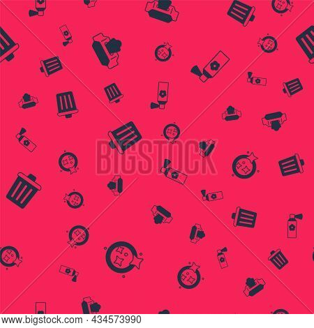 Set Washing Dishes, Wet Wipe Pack, Trash Can And Air Freshener Spray Bottle On Seamless Pattern. Vec