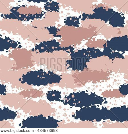 Seamless Camo Pattern Cartoon Vector. Military Print. Army Texture Camouflage