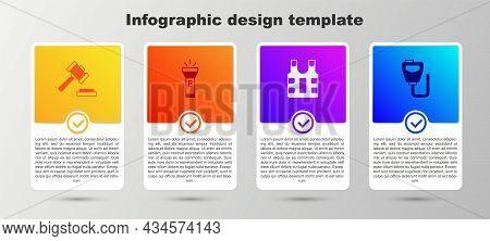 Set Judge Gavel, Flashlight, Bulletproof Vest And Walkie Talkie. Business Infographic Template. Vect