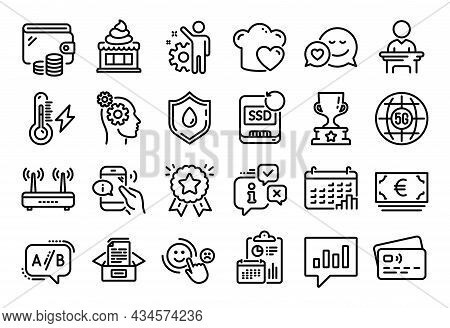 Vector Set Of Thoughts, Calendar Graph And Ice Cream Line Icons Set. Calendar Report, Money Wallet A