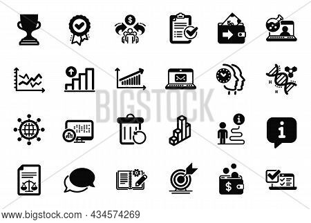 Vector Set Of Education Icons Related To Chart, Messenger And Online Chemistry Icons. Award Cup, Rep