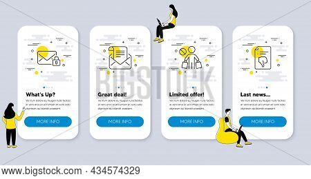 Set Of Business Icons, Such As Mail Newsletter, Stop Shopping, Secure Mail Icons. Ui Phone App Scree