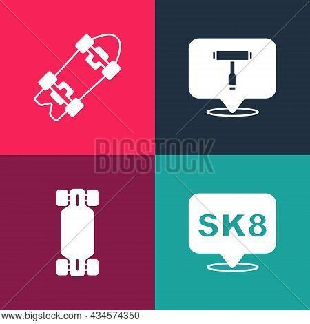 Set Pop Art Skateboard, Longboard Or Skateboard, T Tool And Icon. Vector