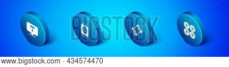 Set Isometric Skateboard T Tool, , Wheel And Knee Pads Icon. Vector