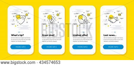 Vector Set Of Inspiration, Heart And 5g Internet Line Icons Set. Ui Phone App Screens With Line Icon
