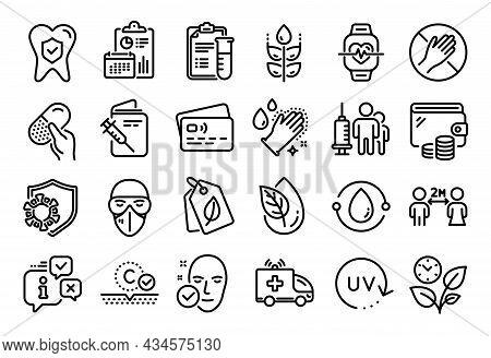 Vector Set Of Ambulance Car, Dental Insurance And Cold-pressed Oil Line Icons Set. Calendar Report,
