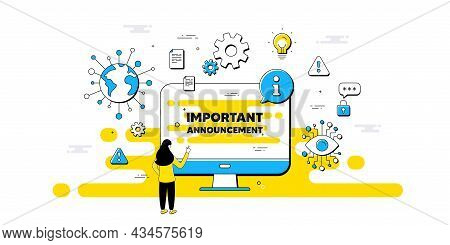 Important Announcement Text. Internet Safe Data Infographics. Special Offer Sign. Advertising Discou