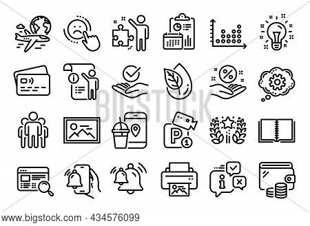 Vector Set Of Alarm Clock, Manual Doc And Dislike Line Icons Set. Calendar Report, Money Wallet And