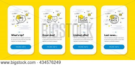 Vector Set Of Investment, Happy Emotion And Gift Dream Line Icons Set. Ui Phone App Screens With Lin