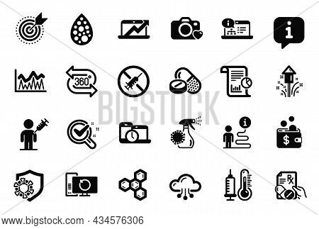 Vector Set Of Science Icons Related To Cloud Computing, 360 Degree And Thermometer Icons. Online Doc