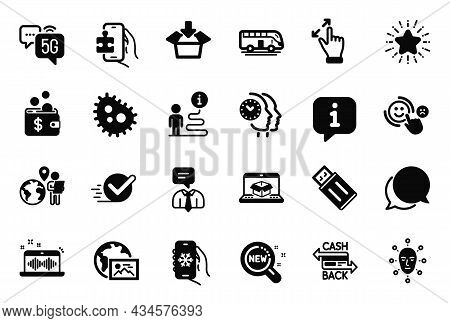 Vector Set Of Technology Icons Related To Web Photo, Chat Message And Usb Flash Icons. Checkbox, Tou