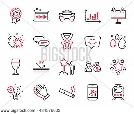 Vector Set Of Business Icons Related To Uv Protection, Sallary And Winner Ribbon Icons. Dot Plot, St