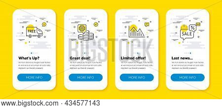 Vector Set Of Free Delivery, Investment Graph And Making Money Line Icons Set. Ui Phone App Screens