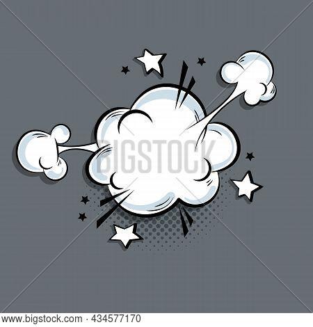 Explosion Speech Bubble. Comics Speech Bubble. Boom, Pow Effect. Explosion With Puffs Of Smoke. Mess