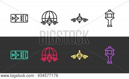 Set Line Airline Ticket, Globe With Flying Plane, Plane And Airport Control Tower On Black And White