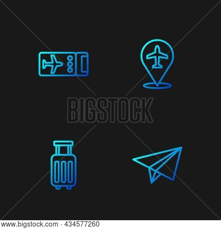 Set Line Paper Airplane, Suitcase, Airline Ticket And Plane. Gradient Color Icons. Vector