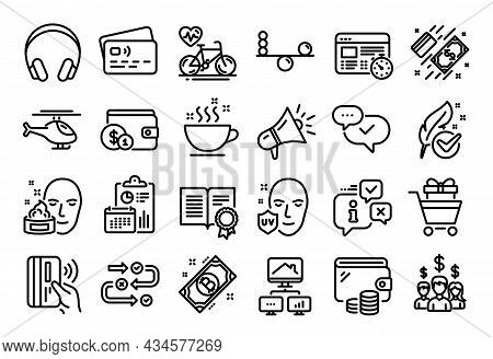 Vector Set Of Buying Accessory, Survey Progress And Bitcoin Line Icons Set. Calendar Report, Money W