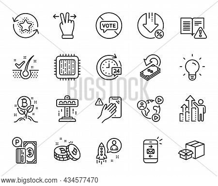 Vector Set Of Packing Boxes, Touchscreen Gesture And Video Conference Line Icons Set. Bitcoin, Emplo