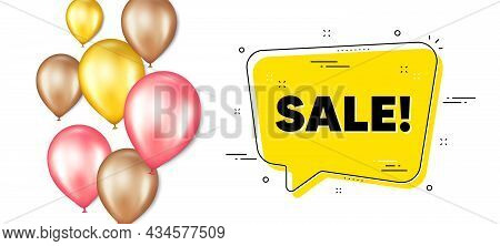 Sale Promotion. Balloons Promotion Banner With Chat Bubble. Special Offer Price Sign. Advertising Di